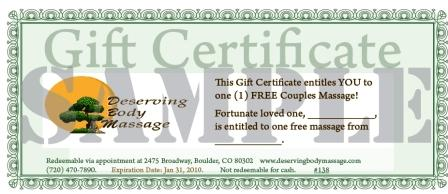 picture of a massage gift certificate in denver and boulder colorado